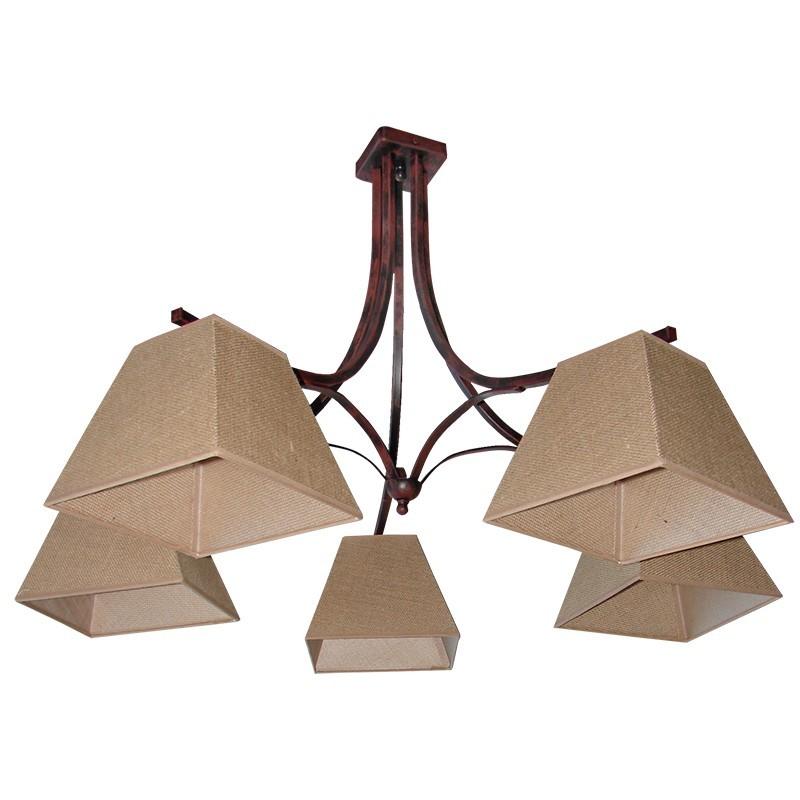 160-5 - Lámpara de techo, de forja, metal en varios acabados, 5 luces,con pantalla