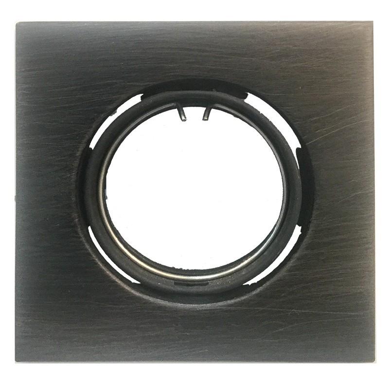 Foco empotrable orientable cuadrado negro mate