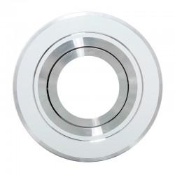 Foco empotrable orientable, redondo, Serie Andros, estructura de aluminio en acabado Blanco y Cromo brillo.