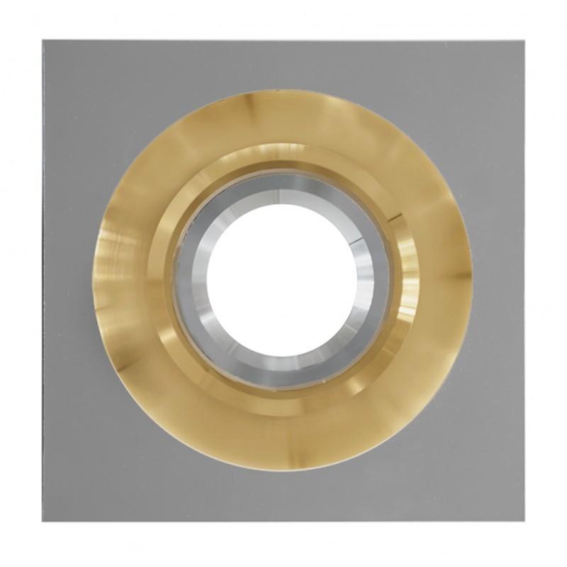 Aro empotrable de la serie POLIFEMO realizado en metal acabado oro y decorado con bisel cuadrado cromado.