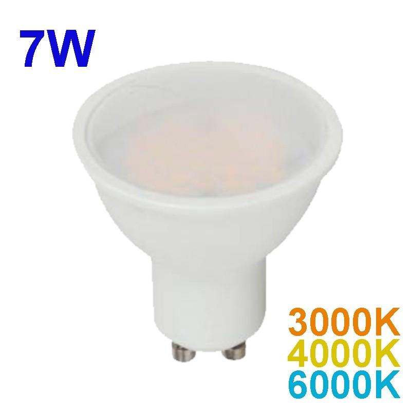 Bombilla LED GU10, 10W con difusor opalizado, 550lm 120º 3000K, 4000K ó 6400K.