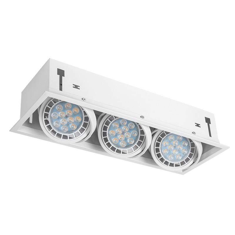 092383001 - Foco de empotrar KARDAN, Serie  César, realizado en aluminio color blanco, de 3 luces.