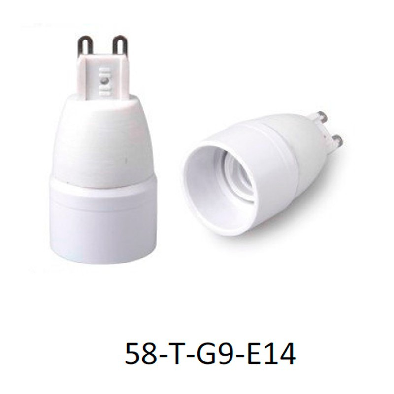 Adaptador portalámparas G9 para E14.