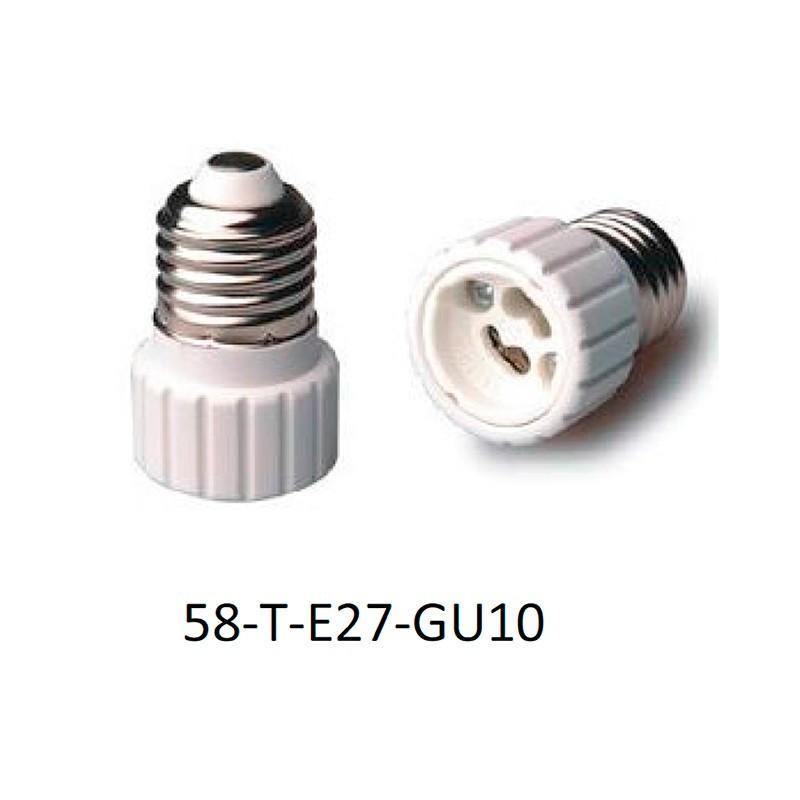Adaptador portalámparas E27 para GU10.