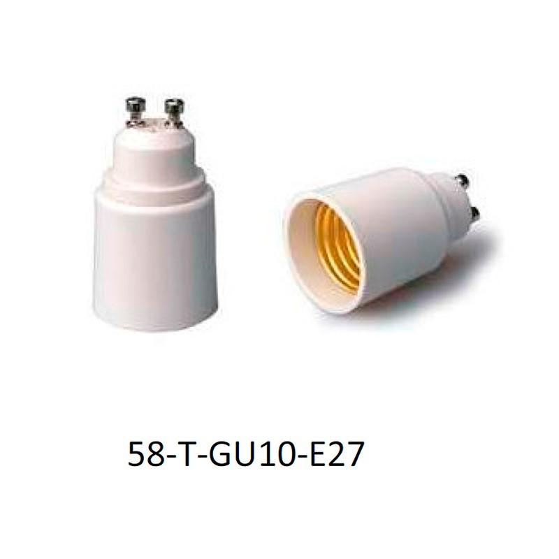Adaptador portalámparas GU10 para E27.
