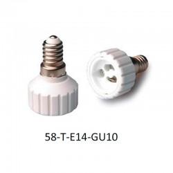 Adaptador portalámparas E14 para GU10.