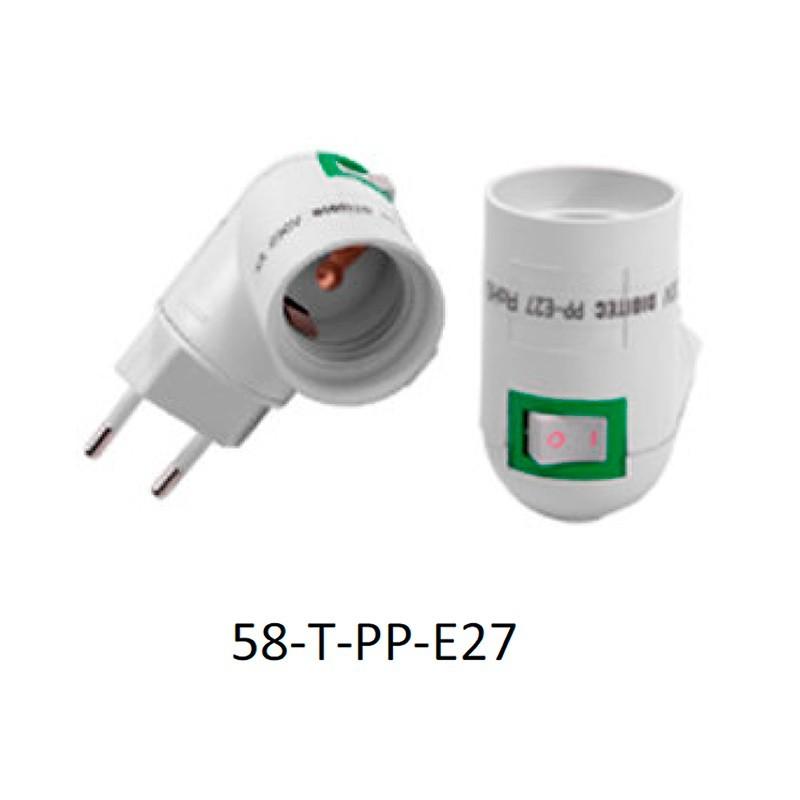 Adaptador casquillo de enchufe para E27 con botón.