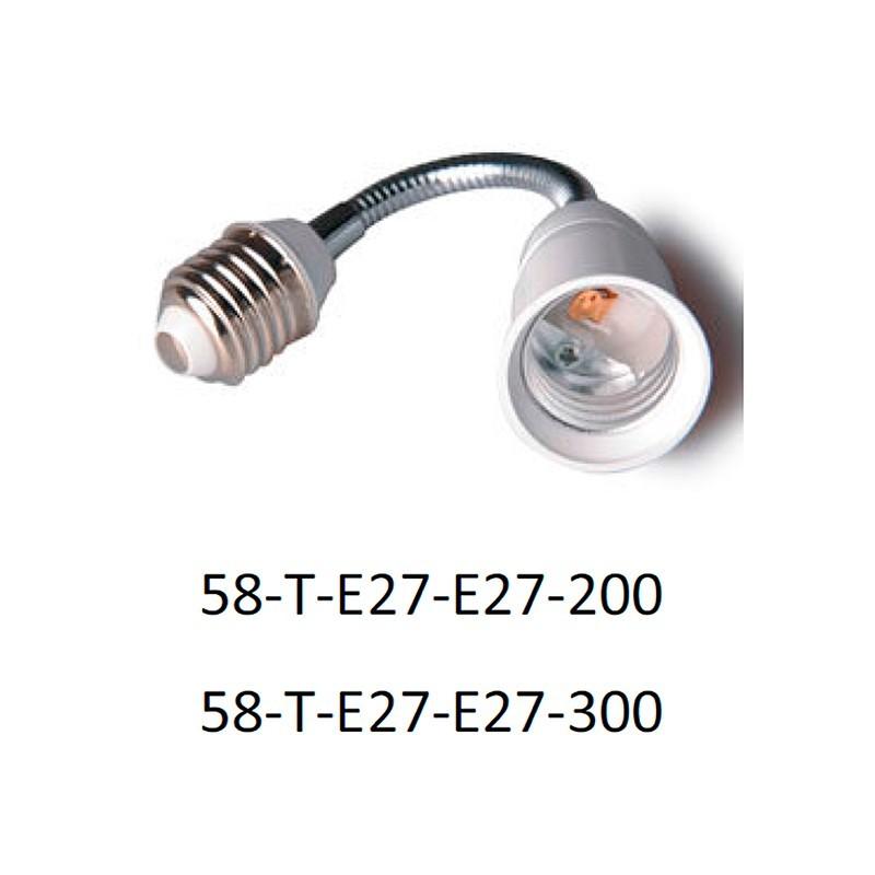 Adaptador portalámparas E27 para E27 20 cm ó 30 cm.