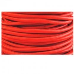 Cable textil plancha + PVC 2x0.75 Manguera redonda, en acabado rojo.