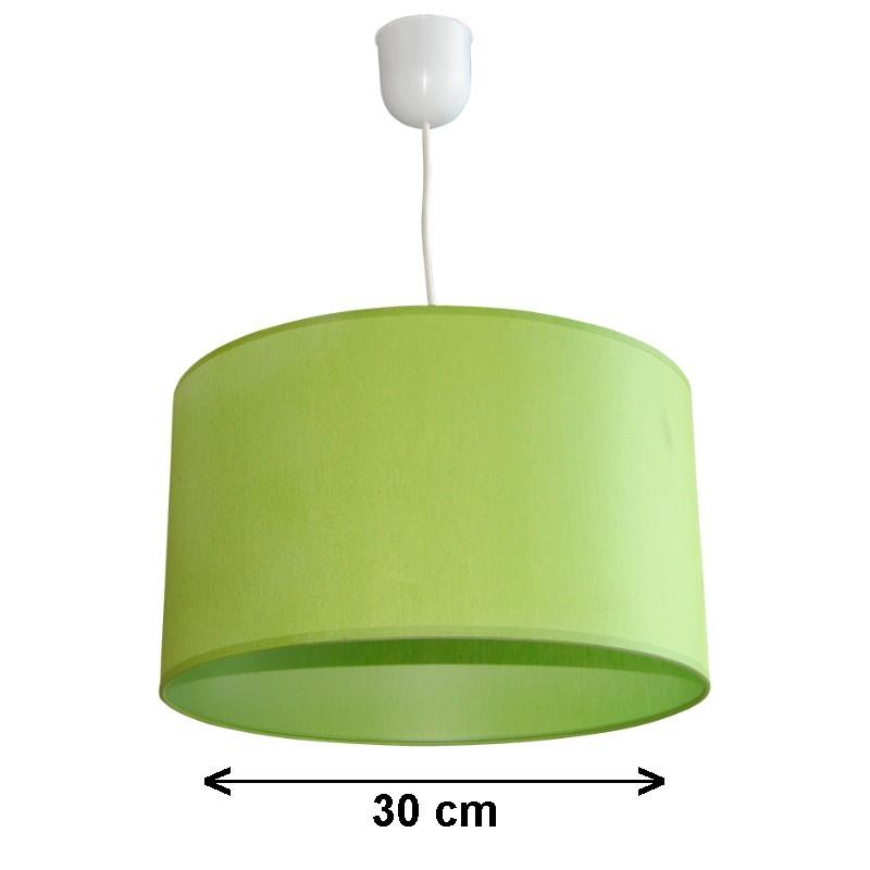 Lámpara de techo colgante, 1 luz, con pantalla cilíndrica Ø 30 cm de tela en varios acabados.