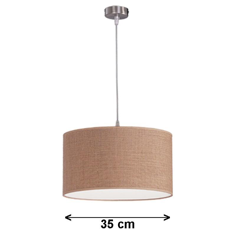 Lámpara de techo colgante, metal en acabado níquel satinado, 1 luz, con pantalla cilíndrica Ø 35 cm en telas de varios acabados