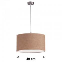 Lámpara de techo colgante, metal en acabado níquel satinado, 1 luz, con pantalla cilíndrica Ø 40 cm