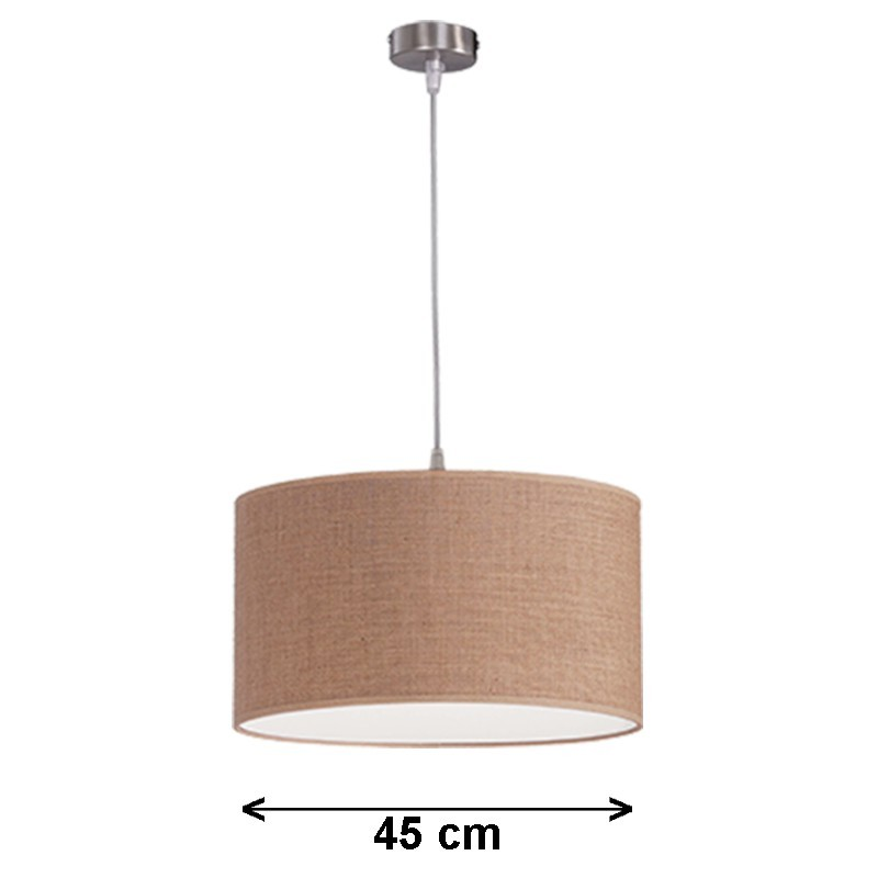 Lámpara de techo colgante, metal en acabado níquel satinado, 1 luz, con pantalla cilíndrica Ø 45 cm