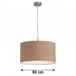 Lámpara de techo colgante, metal en acabado níquel satinado, 1 luz, con pantalla cilíndrica Ø 50 cm