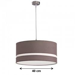 Lámpara de techo colgante, metal en acabado níquel satinado, con pantalla cilíndrica Ø 40 cm
