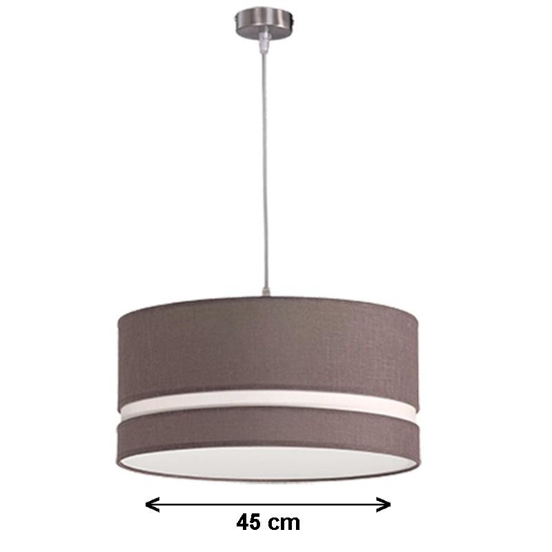 Lámpara de techo colgante, metal en acabado níquel satinado, con pantalla cilíndrica Ø 45 cm
