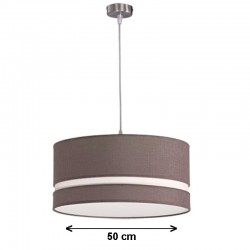 Lámpara de techo colgante, metal en acabado níquel satinado, con pantalla cilíndrica Ø 50 cm