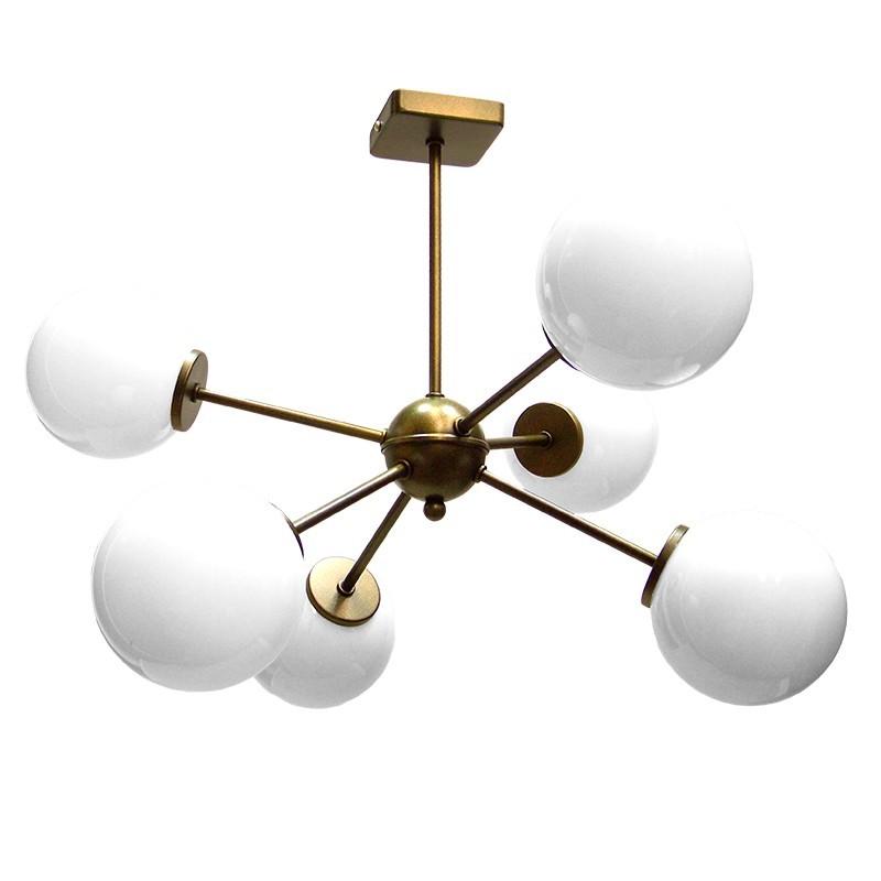Lámpara de techo, estilo Retro Vintage, metal en varios acabados, 6 luces, con bolas de cristal en acabado opal brillo.