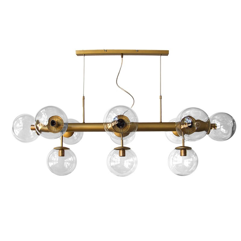 Lámpara de techo, estilo retro, metal en acabado dorado, con bolas de Ø 20 cm cristal transparente, 11 luces.