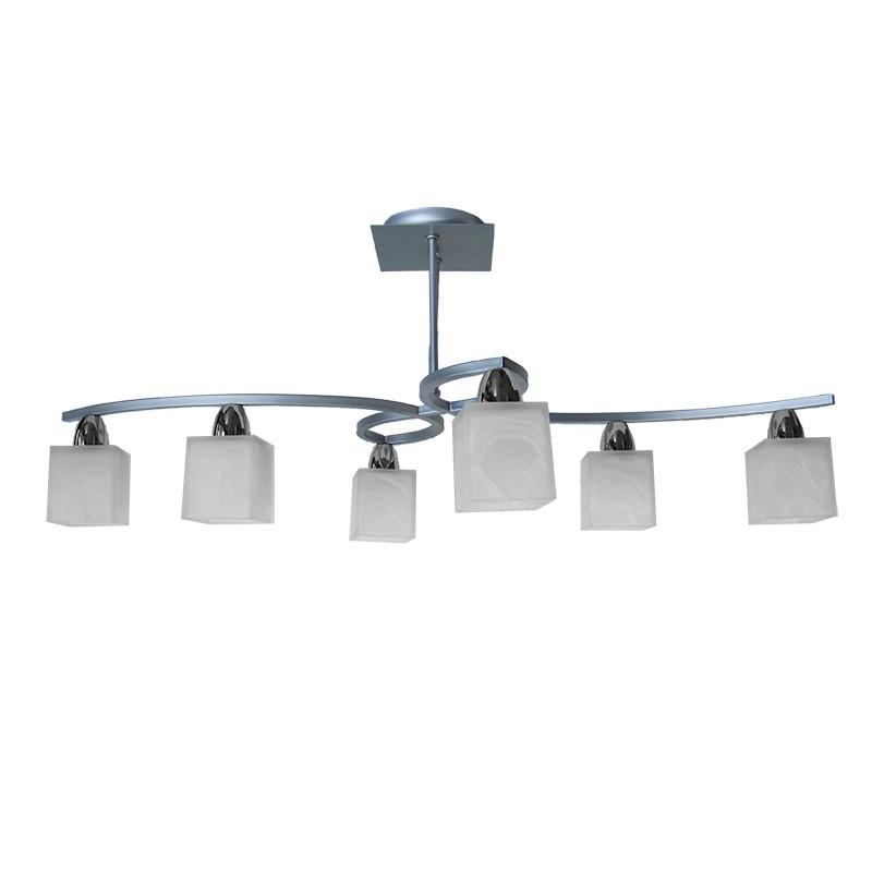Lámpara de techo, estilo moderno, metal en acabado plata y cromo, 6 luces, con tulipas de cristal en acabado alabastro.