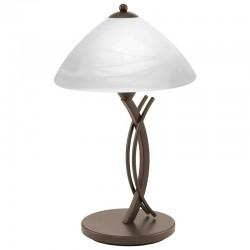 Lámpara de sobremesa, Serie Vinovo, metal en acabado óxido marrón, 1 luz, con cristal en acabado alabastro