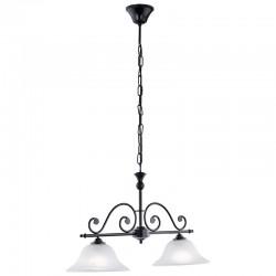 Lámpara de techo, Serie Murcia, metal en acabado negro, 2 luces, con cristal en acabado alabastro.