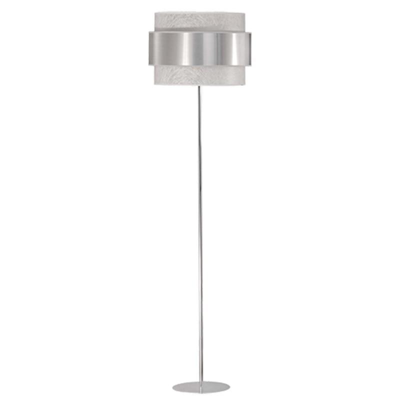 Lámpara de pie de salón, estilo Moderno, en acabado cromo, con pantalla doble combinada