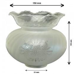 Tulipa de cristal, vidrio soplado, en acabado ácido, con dibujo transparente.