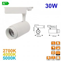 Foco de carril LED, en acabado blanco, 30W 3300lm 2700K, 4000K ó 5000K, óptica variable 15º-60º