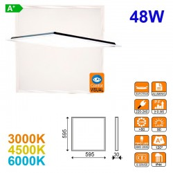 Panel LED, confort visual, 48W 4200lm 3000K, 4500K ó 6000K, 59.5x59.5x30 mm.