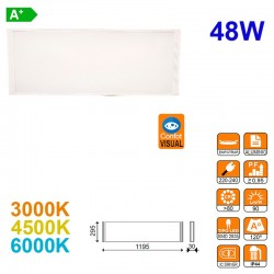 Panel LED, confort visual, 48W 3600lm 3000K, 4500K ó 6000K, 120º de apertura