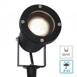 Proyector LED para jardín, con pincho, en acabdo negro, con portalámparas GU10, IP65.