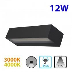 Aplique de pared LED, para exterior, de aluminio en acabado gris antracita, con difusor acrílico, 12W 120º de apertura, IP65