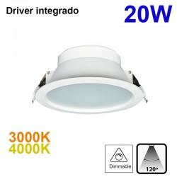 Downlight LED empotrable, Serie Bugy, de alumno en acabado blanco, con driver integrado, 20W luz cenital