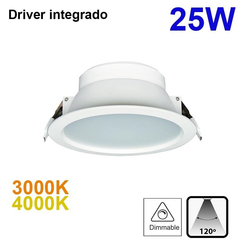 Downlight LED empotrable, Serie Bugy, de alumno en acabado blanco, con driver integrado, 25W luz cenital