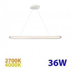 Lámpara de techo LED, Serie Scale, armazón metálico en acabado blanco, con difusor acrílico, 36W