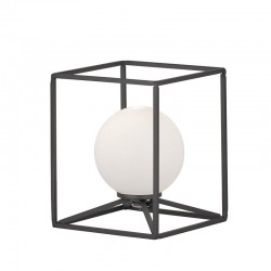Lámpara de sobremesa, Serie Gabbia, armazón metálico en acabado negro, 1 luz, con bola de cristal en acabado blanco.