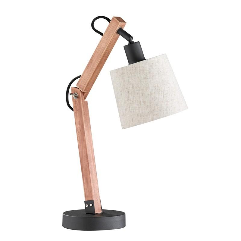 Lámpara de sobremesa, Serie Janko, armazón metálico en acabado marrón con madera en acabado natural, 1 luz
