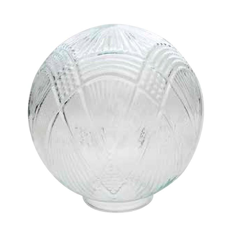 Bola de cristal transparente con relieves, Ø 14 cm boca 8 cm con greipa.