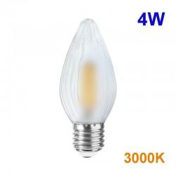 Bombilla LED de filamentos, cristal en acabado mate, E27 4W 380lm 3.000K 360º de apertura.