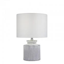 Lámpara de sobremesa, Serie Hilton, armazón de cerámica, 1 luz, con pantalla de tela en acabado blanco