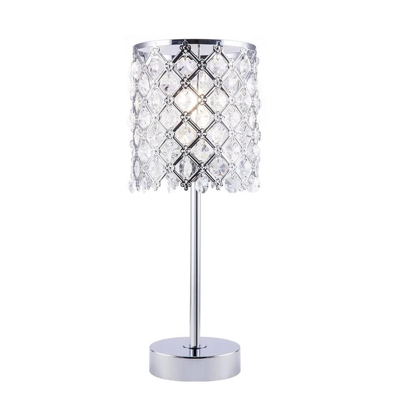 Lámpara de sobremesa, Serie Frate, armazón metálico en acabado cromo, 1 luz, con pantalla metálica decorada con lágrimas