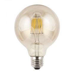 Bombilla LED de filamentos, E27 6W 570lm 3.000K 360º de apertura, de cristal en acabado ámbar.