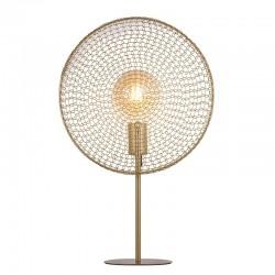 Lámpara de sobremesa, Serie Portals, armazón metálico en acabado oro mate, 1 luz, con pantalla metálica