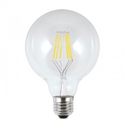 Bombilla LED de filamentos, E27 6W 570lm 3.000K 360º de apertura, de cristal en acabado transparente.