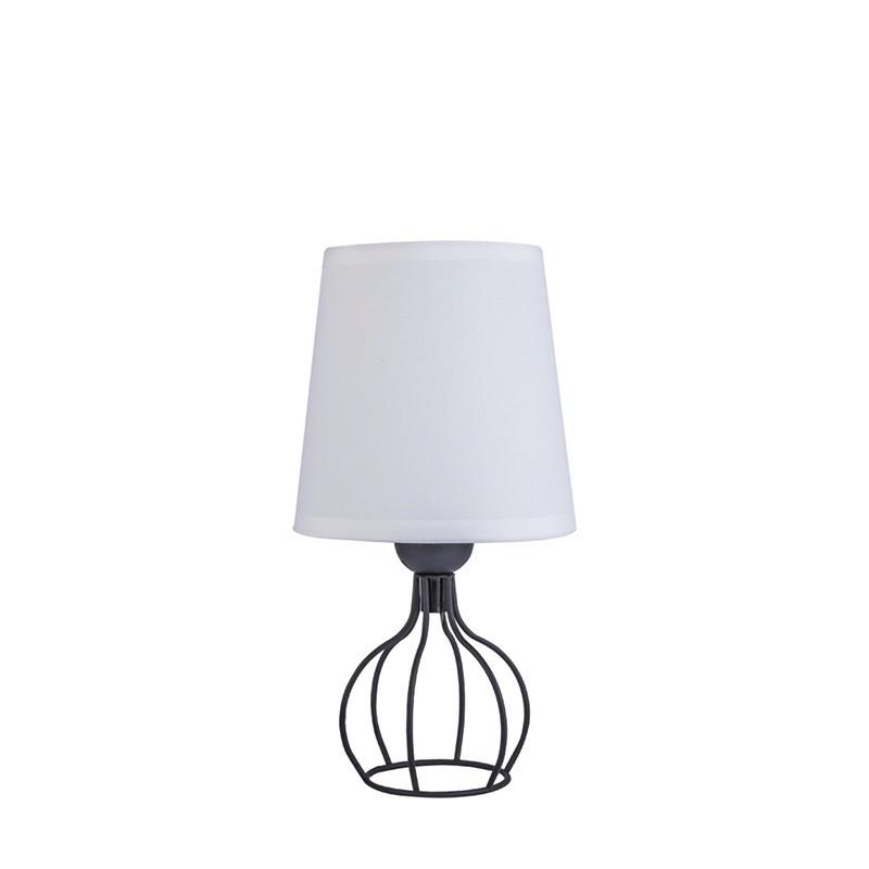 Lámpara de sobremesa, Serie Hilda, armazón metálico en acabado negro, 1 luz, con pantalla de tela en acabado blanco.
