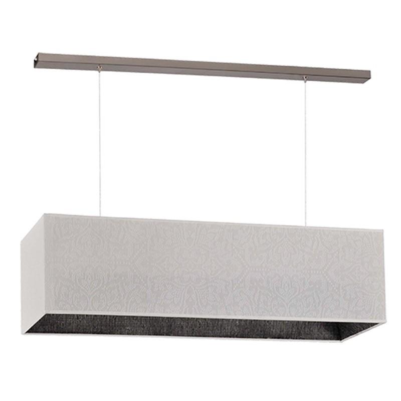 Lámpara de techo, metal en acabado cromo, con pantalla rectangular vulkano, exterior en tela Fibra blanca.