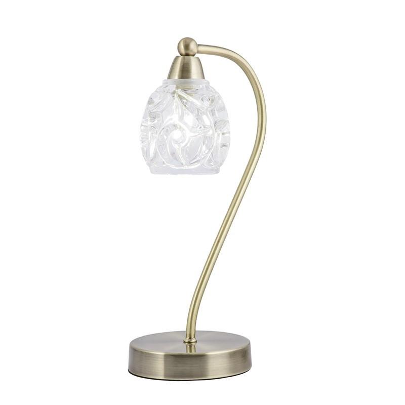 Lámpara de sobremesa, Serie Garbo, armazón metálico en acabado cuero, 1 luz, con tulipa de cristal transparente