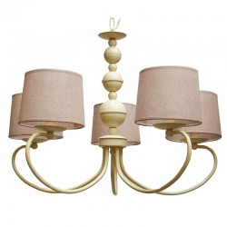 Lámpara de techo, estilo Rústico, armazón metálico en varios acabados, 5 luces, con pantallas cilíndricas 203