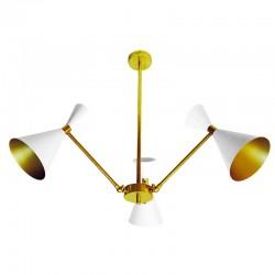 Lámpara de techo, estructura de latón en acabado satinado, 3 luces, con pantallas metálicas.